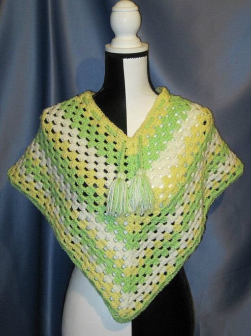 Granny Stitch Poncho in Light Green and Yellow by Mumsie of Stratford.