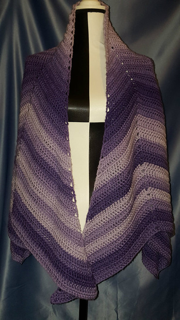 Starburst Designed Shawl in Purples by Mumsie of Stratford.