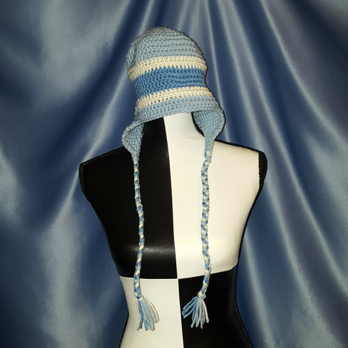 Striped Hat with Braided Tie Strings in Light Blues by Mumsie of Stratford.