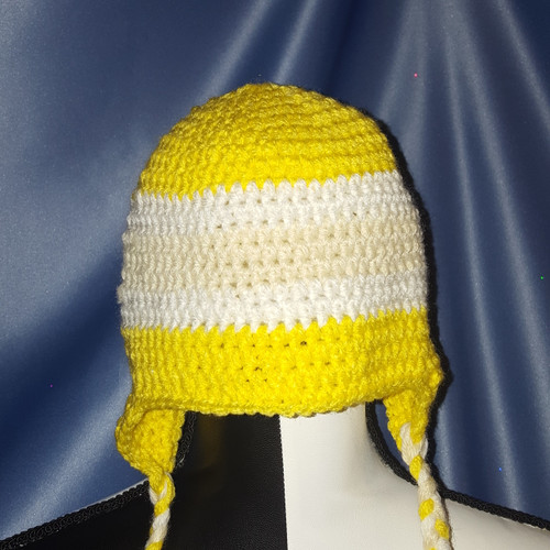 Striped Hat with Braided Tie Strings in Yellow by Mumsie of Stratford.