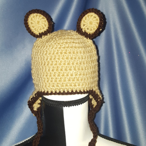 Teddy Bear Hat in Tan with Brown Trim by Mumsie of Stratford.