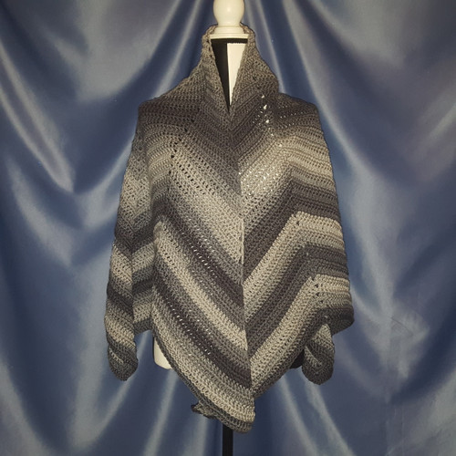 Starburst Designed Shawl in Greys by Mumsie of Stratford.