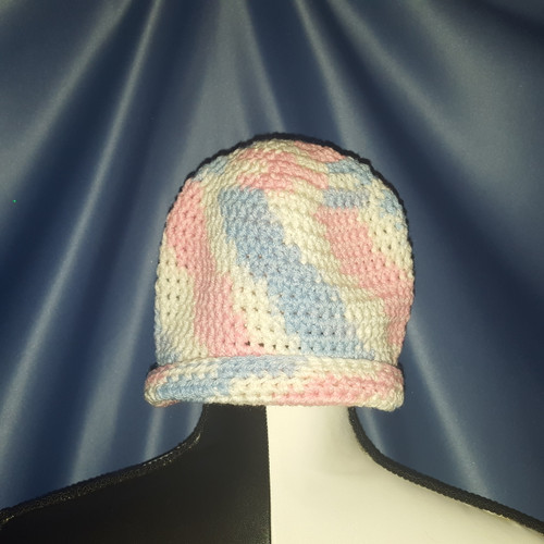 Beanie Hat in Light Blue, Light Pink and White  by Mumsie of Stratford.