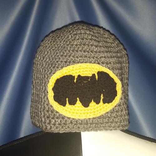 Batman Beanie Hat Grey with Batman Symbol by Mumsie of Stratford.