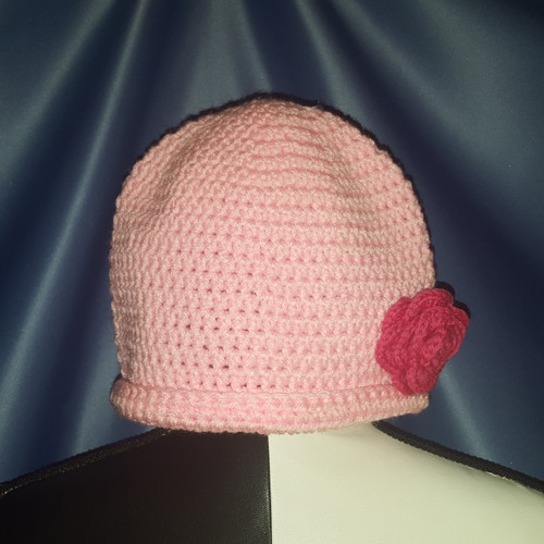 Beanie Hat in Pink with Dark Pink Rose by Mumsie of Stratford.