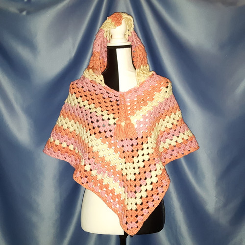 Granny Stitch Poncho with Hood in Pink, Orange and Cream by Mumsie of Stratford.