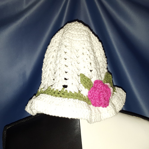 Summer Hat in White with Flowers by Mumsie of Stratford.