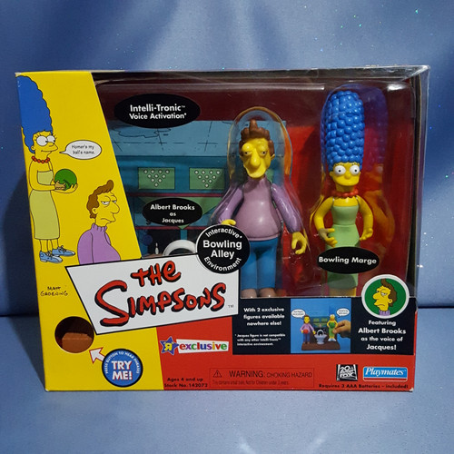 The Simpsons Interactive Bowling Alley Environment with Jacques and Marge Figures by Playmates.