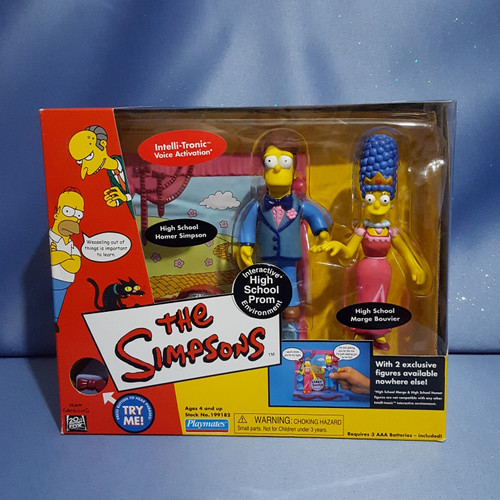 The Simpsons Interactive High School Prom Environment with Homer Simpson and Marge Bouvier Figures by Playmates.