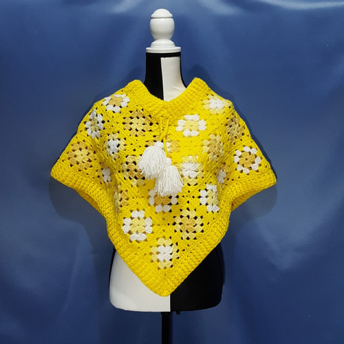 Granny Square Poncho in Yellow by Mumsie of Stratford.