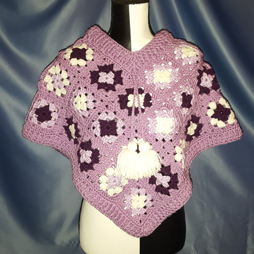 Granny Square Poncho in Lavender by Mumsie of Stratford.
