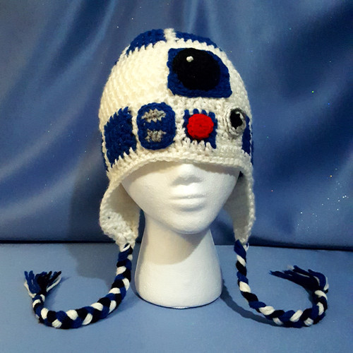 """Star Wars Character Hat of """"R2-D2"""" by Mumsie of Stratford."""