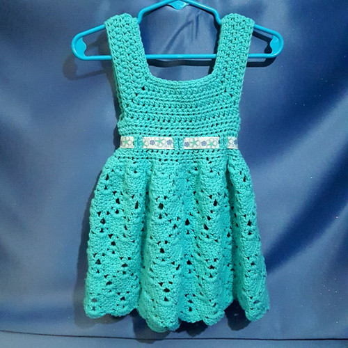 Teal Cotton Toddler Dress Crocheted by Mumsie of Stratford