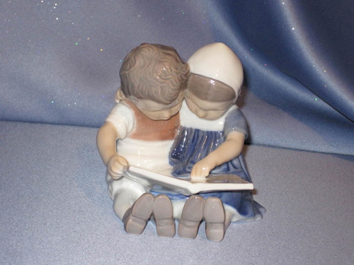 "Boy and Girl ""Children Reading"" Figurine by Bing & Grondahl."