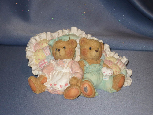 "Cherished Teddies - Michelle and Michael - ""Friendship Is A Cozy Feeling"" Figurine W/Comp Box."