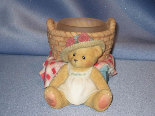 Cherished Teddies - Girl Bear with Basket Tea Light Holder W/Comp Box.