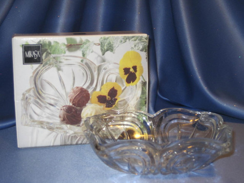 Crystal Bowl with Flores Pattern by Mikasa.