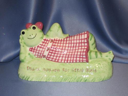 "Hattie Frog ""Thank Heaven for Little Girls"" Coin Bank."