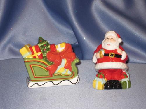 Holiday Santa & Sleigh Salt & Pepper Shaker Set by Martha Stewart Collection.