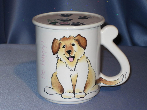 "Dog Mug with Cover Coaster ""Be Happy""."