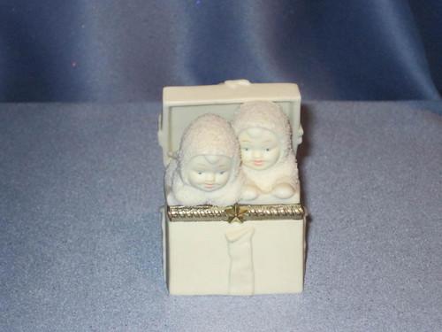 """Snowbabies """"Surprise"""" Hinged Trinket Box."""