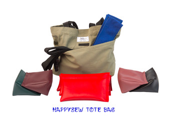 HappySew's Accessories Tote can hold four large Wedge Rice Bag, three Rectangular Rice Bag, Hook and Loop Fasteners Fabric Belt, Traction Belt, phone and other accessories. It has an outside pocket and an inside pocket.