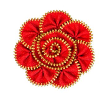 Red Zipper Flower Magnet/Brooch