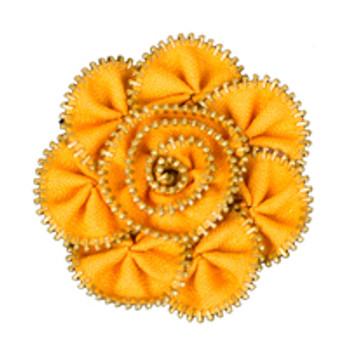 Yellow Zipper Flower Magnet/Brooc