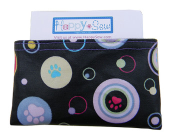 Business Card Holder with Dog Paws Print Fabric