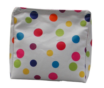 Wedge Rice Bag with Polka Dot Vinyl Tablecloth and Rice