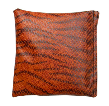 Square Rice Bag in Black and Orange Leopard Vinyl