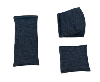 Denim Blue Square Rice Bag in Cotton Fabric
