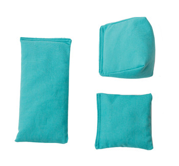 Rectangular Rice Bag with Aqua Blue Cotton Fabric