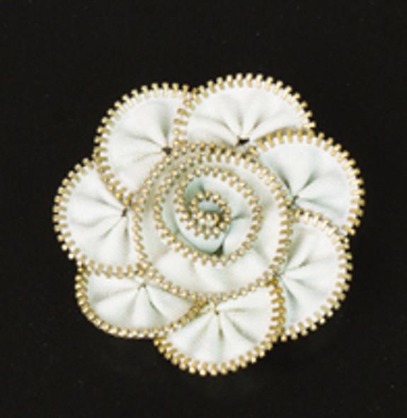 White Zipper Flower Magnet/Brooch