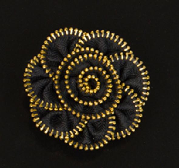 Black Zipper Flower Magnet/Brooch