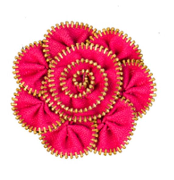 Hot Pink Zipper Flower Magnet/Brooch