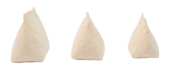 Wedge Rice Bag with Muslin (Unbleached/Cream) Cotton and Rice