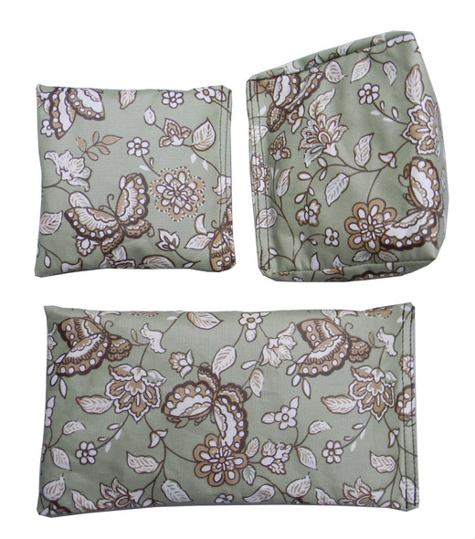 Square Rice Bag With Butterfly and Flower Prints in Olive Green