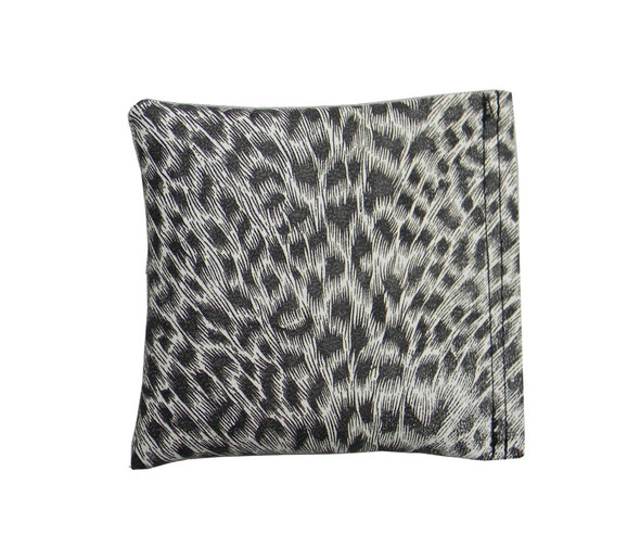 Square Rice Bag in Black and White Leopard Vinyl