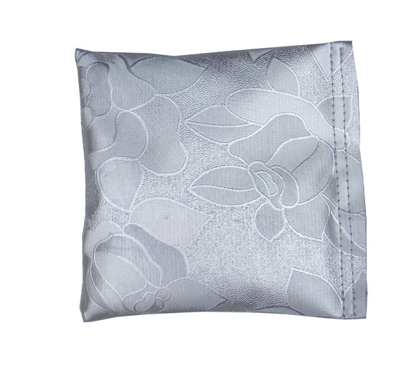 Square Rice Bag with Rose Print in Metallic Silver Vinyl