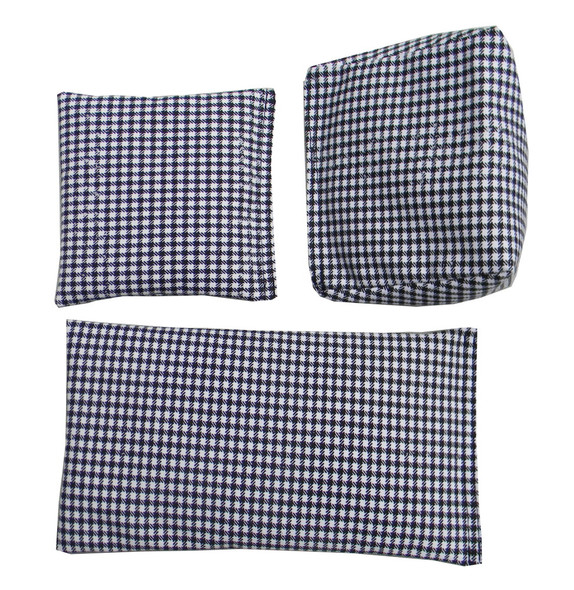 Black and White Checkers Print Square Rice Bag in Cotton Fabric