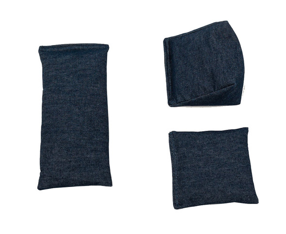 Wedge Rice Bag with Denim Blue Cotton Fabric and Rice