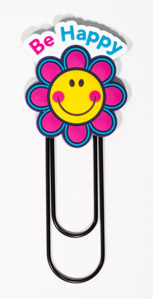 Smiley Face Flower with Be Happy headings Jumbo Paper Clip