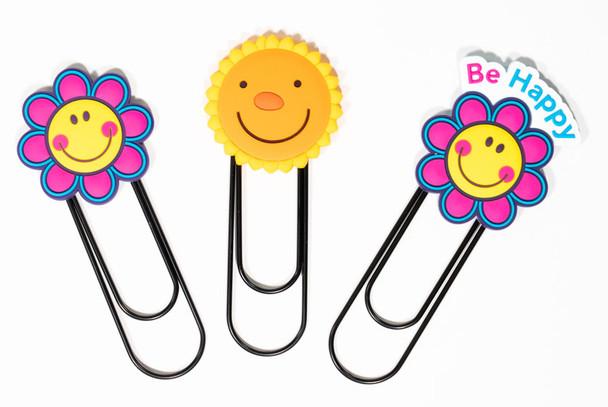 Set of 3 Smiley Face Flower Jumbo Paper Clips