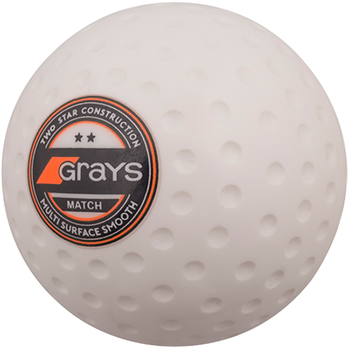 The Grays Match ball is of 2-Star construction and is suitable for club level play. The solid core and hard wearing shell give good performance on synthetic pitches.
