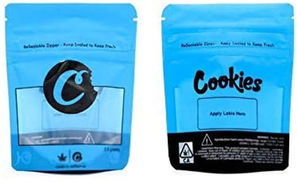 Cookies Window Mylar Bags 3.5 Grams Smell Proof Resealable Bags w/ Holographic Authenticity Stickers and Label (FREE SHIPPING)
