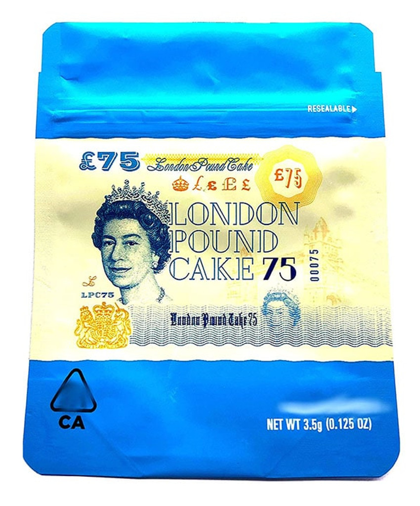 Cookies London Pound Cake Mylar Bags 3.5 Grams Smell Proof Resealable Bags w/ Holographic Authenticity Stickers (FREE SHIPPING)