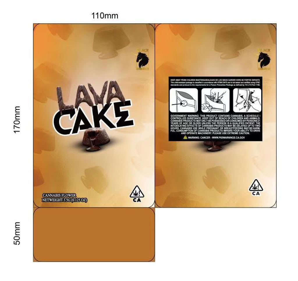 Black Unicorn -Lava Cake  Mylar bag 3.5g  For Flower  (FREE SHIPPING)