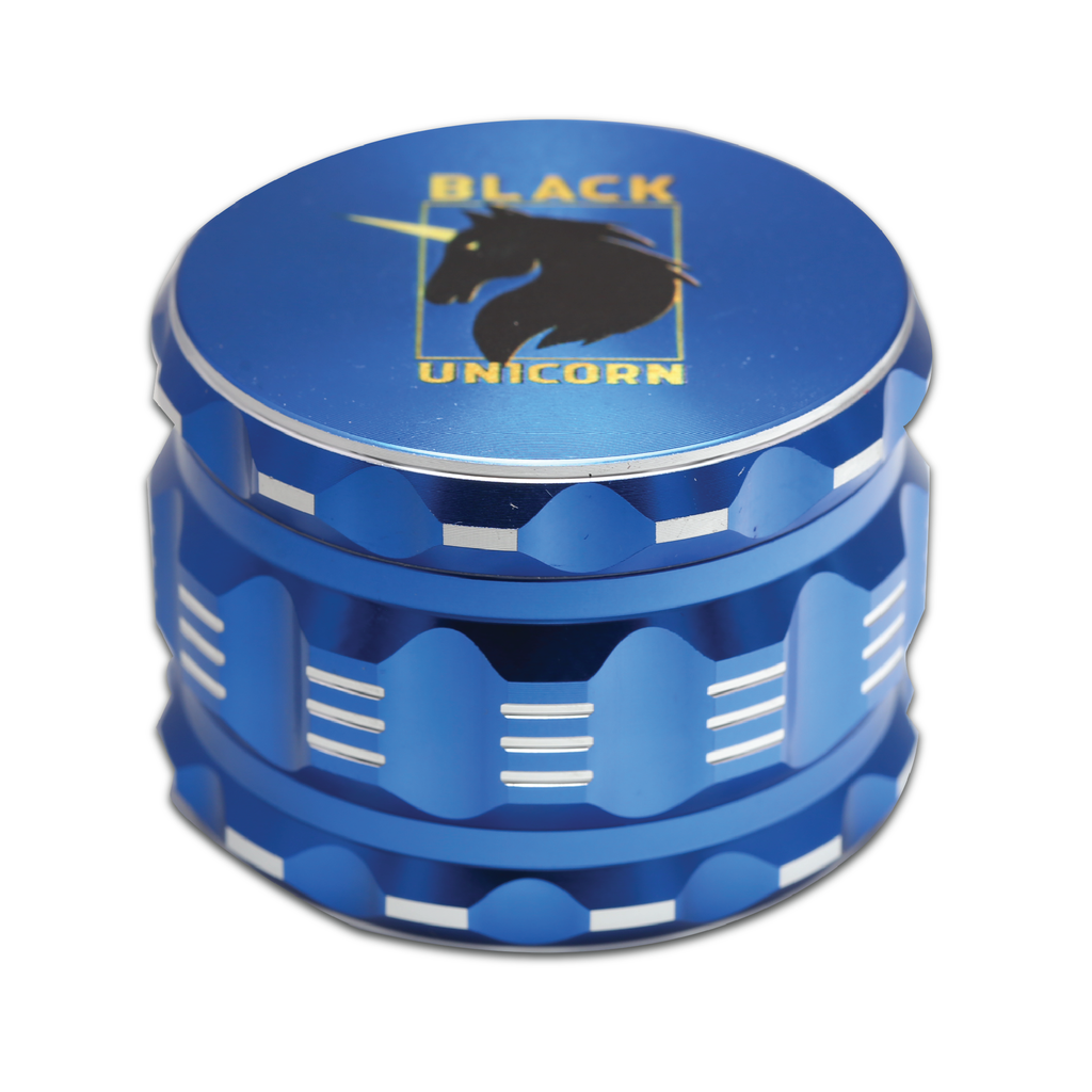 "Black Unicorn Best Herb Grinder with Pollen Catcher. Large 4 Piece, 2.5"" Aluminum (Blue)"