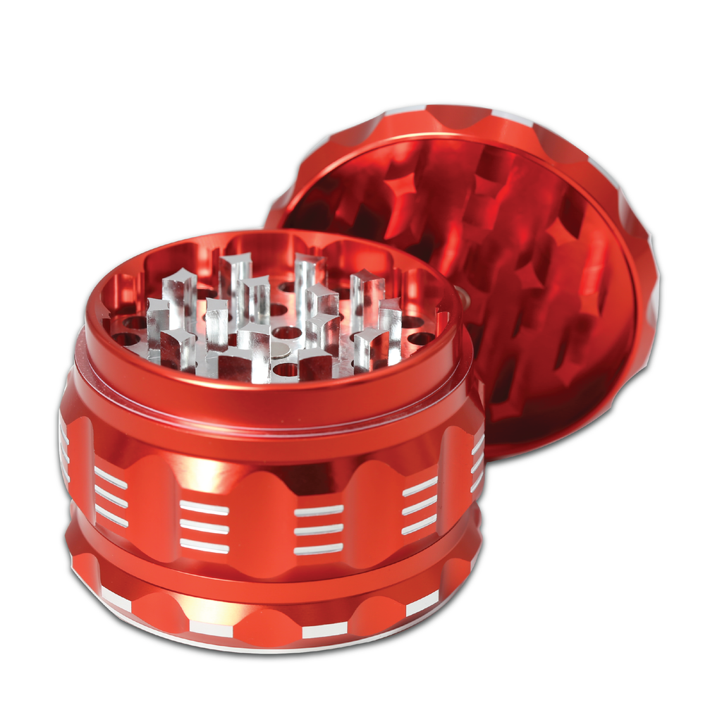 "Black Unicorn Best Herb Grinder with Pollen Catcher. Large 4 Piece, 2.5"" Aluminum (Red)"